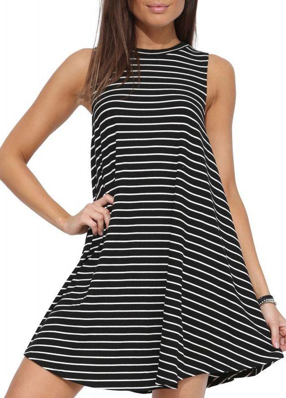 Black White Striped Sleeveless Dress