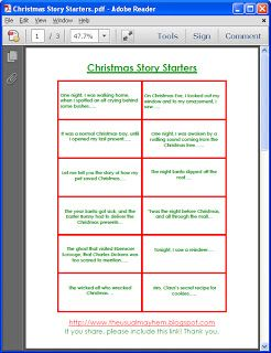 30 free printable story starters! Print on cardstock, have your child pick one a day through December! (Great way to keep kids busy during winter break!)