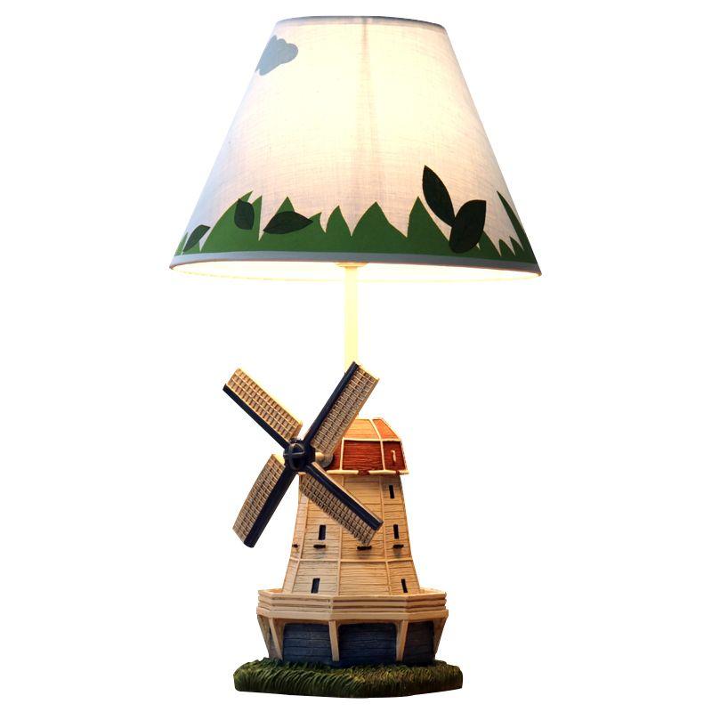 New Modern Creative Resin Windmill Style Body Kid's Gift Table Lamp Linen Shade Children Study Reading Desk Lamp 49x25x14cm