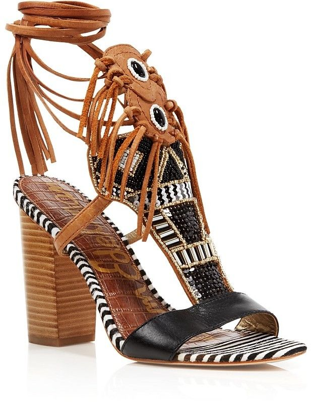 462ca321a Sam Edelman Sandals - Yates Tribal Beaded Wraparound High Heel ...