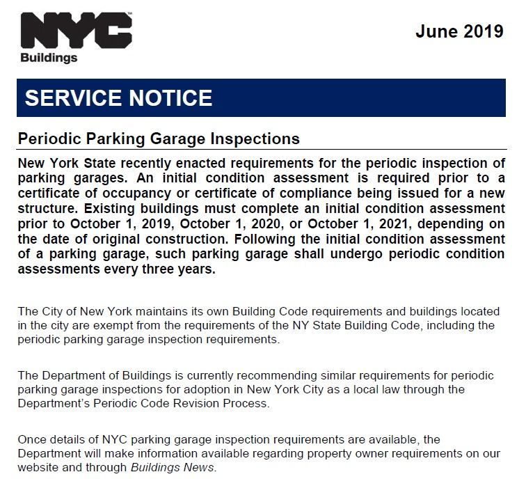 Although Ny State Handed Down New Rules For Periodic Parking Garage Assessments Last Fall Nyc Just Announced Th Construction Logo Design Nyc Construction Logo