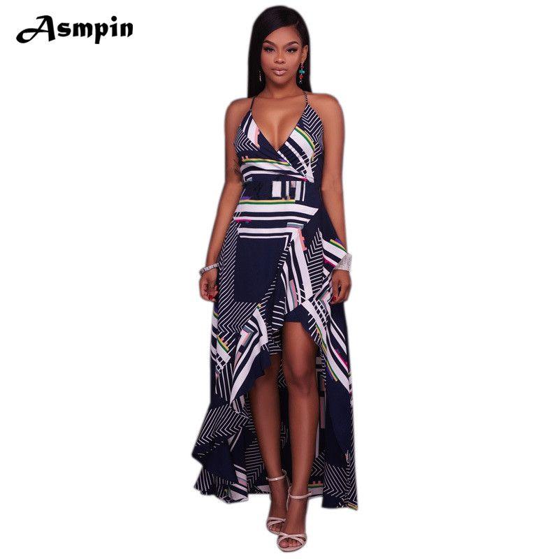 c38920401d0 2018 Hot Sale Summer Beach Dress Women Elegant Sexy Sling Strap Backless  Long Dress Print V-Neck Sleeveless Dresses vestido
