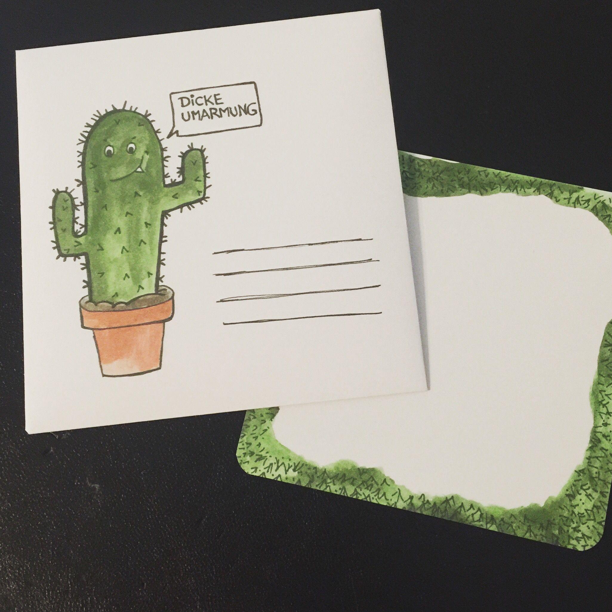 """Kaktus Postkarte Umschlag Brief """"dicke Umarmung"""" cactus postcard envelope """"Big hug"""""""