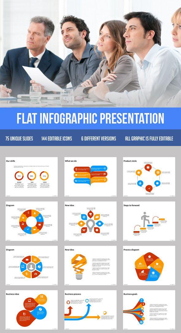 flat infographic presentation template | powerpoint templates, Presentation templates