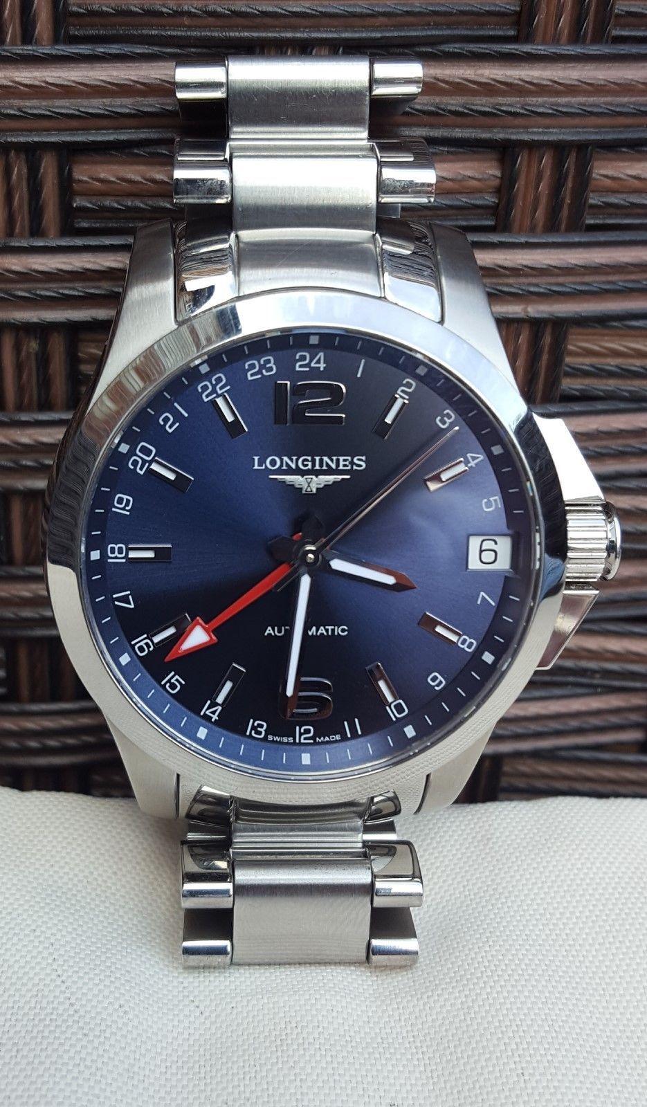 5a6c664d0 Longines Conquest Automatic GMT Men's Watch - Electric Blue Dial ...