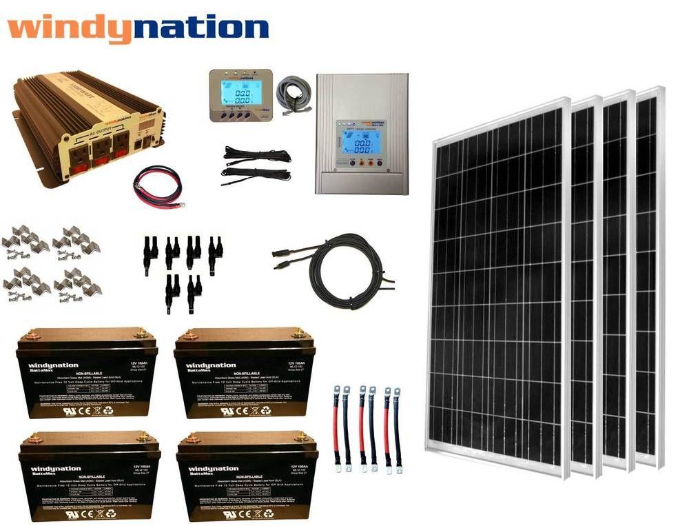 400w 12v Mppt Solar Panel Kit Power Inverter Agm Battery Rv Boat Off Grid Solar Panel Kits Solar Panels Best Solar Panels