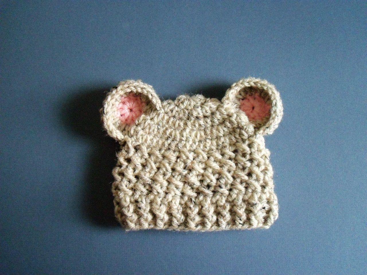 Baby Bear Hat, Crochet Baby Hat, Newborn Bear Hat, Baby girl, Girl 0 ...