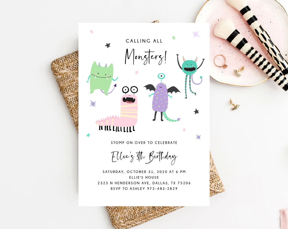 1st Ave Halloween Party 2020 Monster Mash Invitation Template, Printable Pastel Halloween