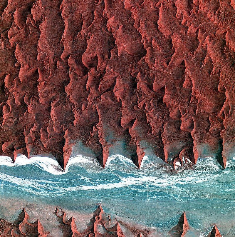 Shot from the European Space Agency is of the coastal Namib Desert in southern Africa.