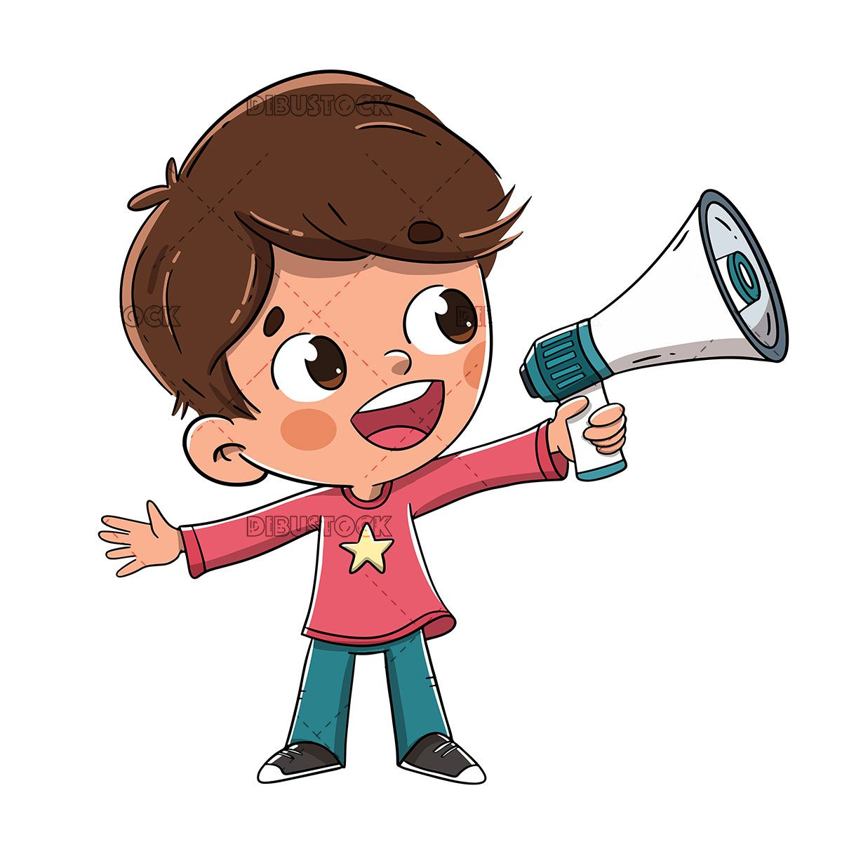 Child Talking With A Megaphone Or Speaker Cartoon Art Art Drawings For Kids Cartoon