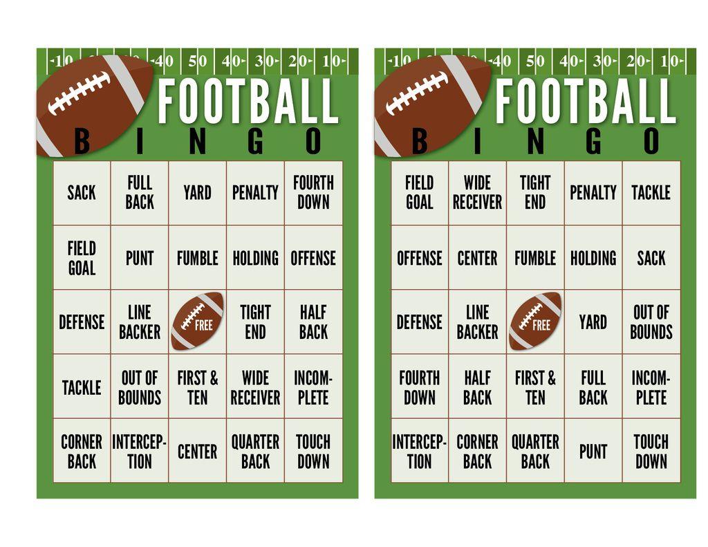 Super Bowl Football Bingo Cards Free Printable