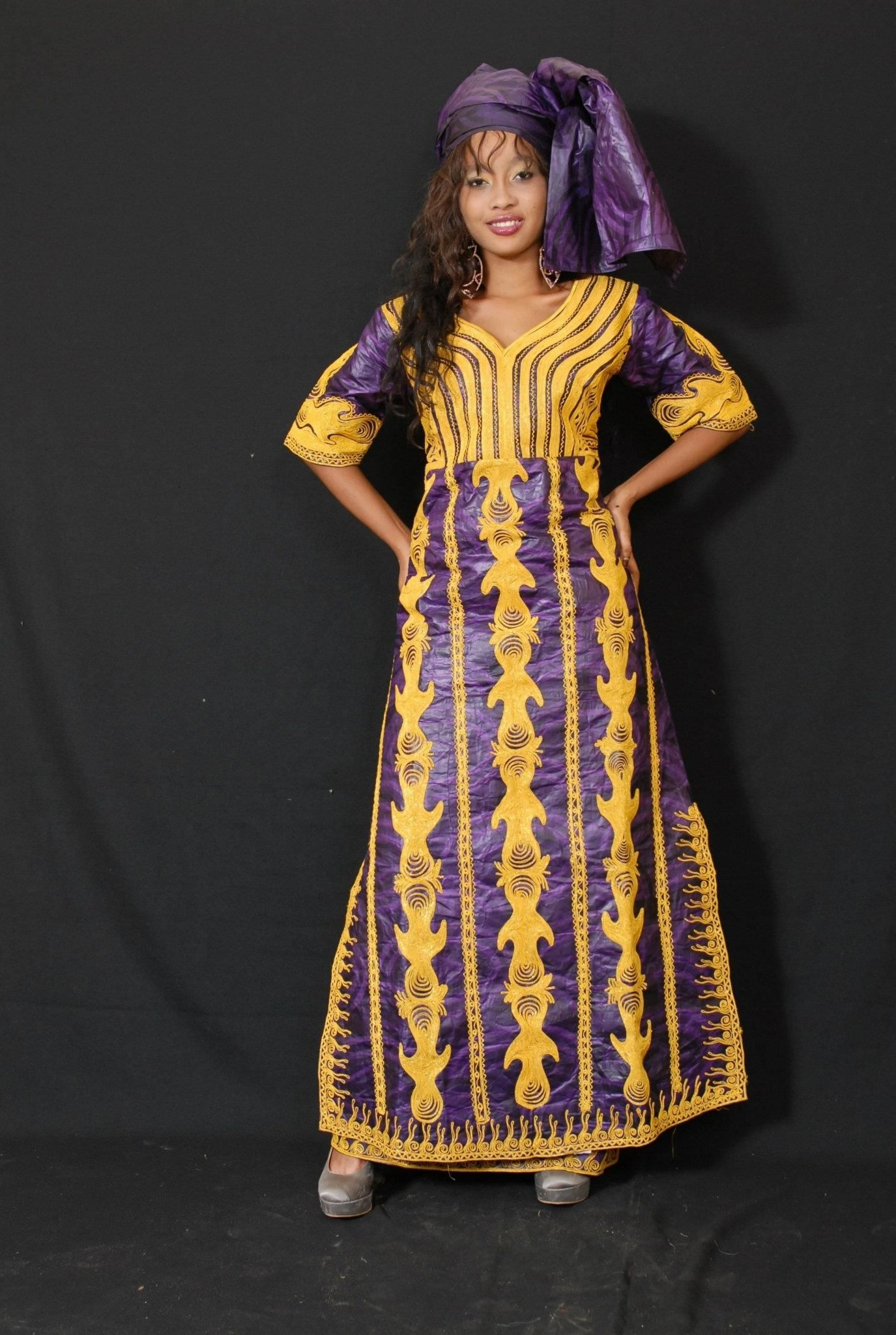 African brocade maxi dress with gold embroidery bazin