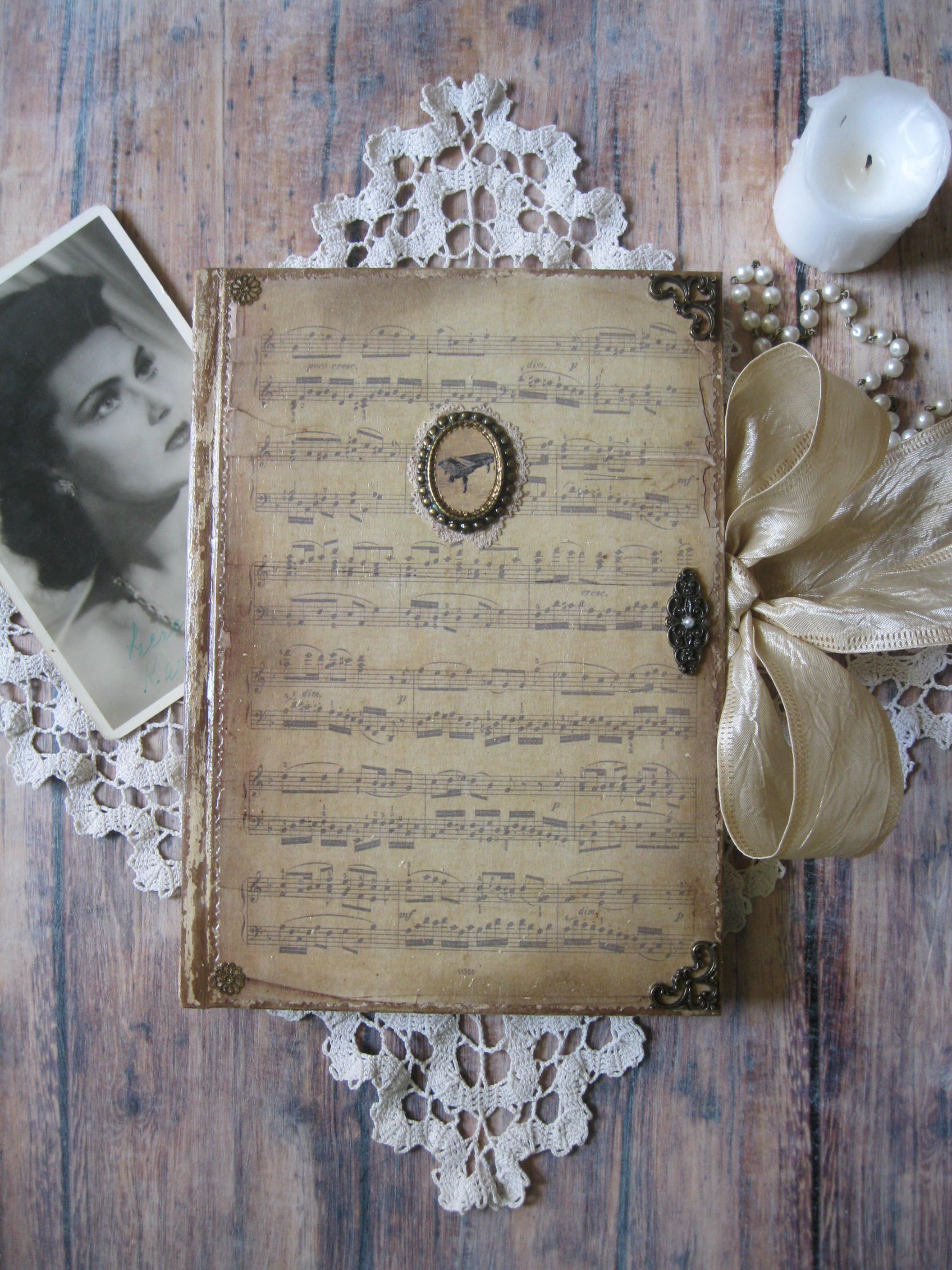 Old Music Diary Journal Notebook Old Sheet Music Vintage Vintage Journal Old Sheet Music Shabby Chic Journal