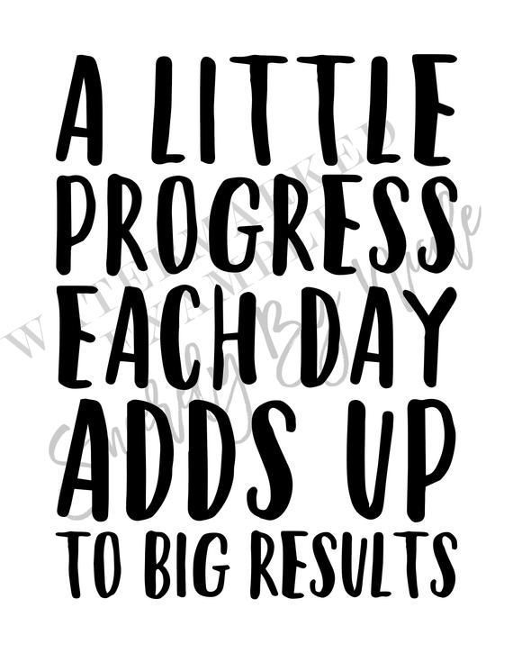 A Little Progress Each Day Adds Up To Big Results 5x7 8x10 | Etsy #fitness motivation quotes positiv...