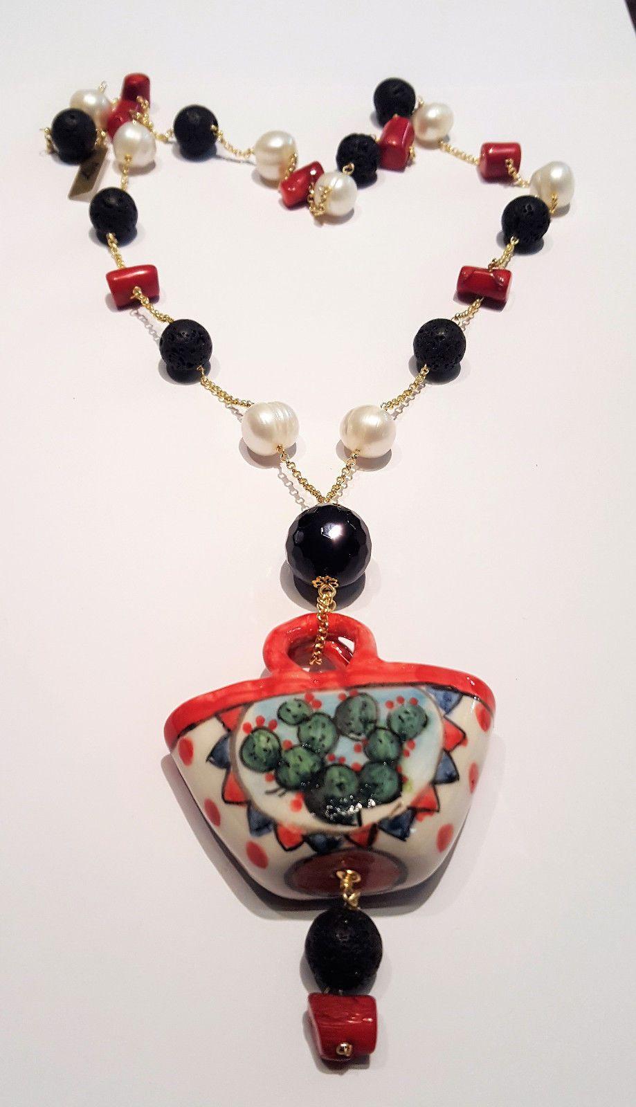 Ciondoli Di Ceramica.Dettagli Su Collana Ciondolo Canestrino In Ceramica Di