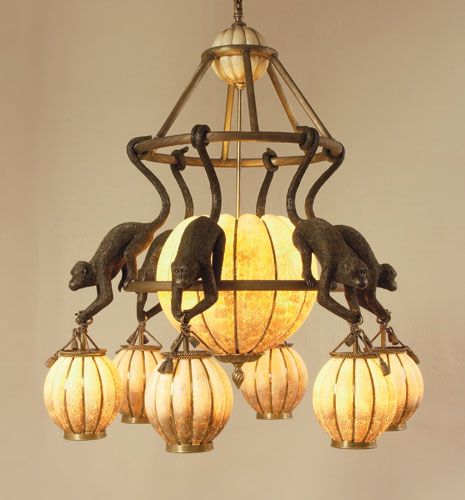 Eggs Inlaid Lantern Chandelier With Hanging Monkeys In