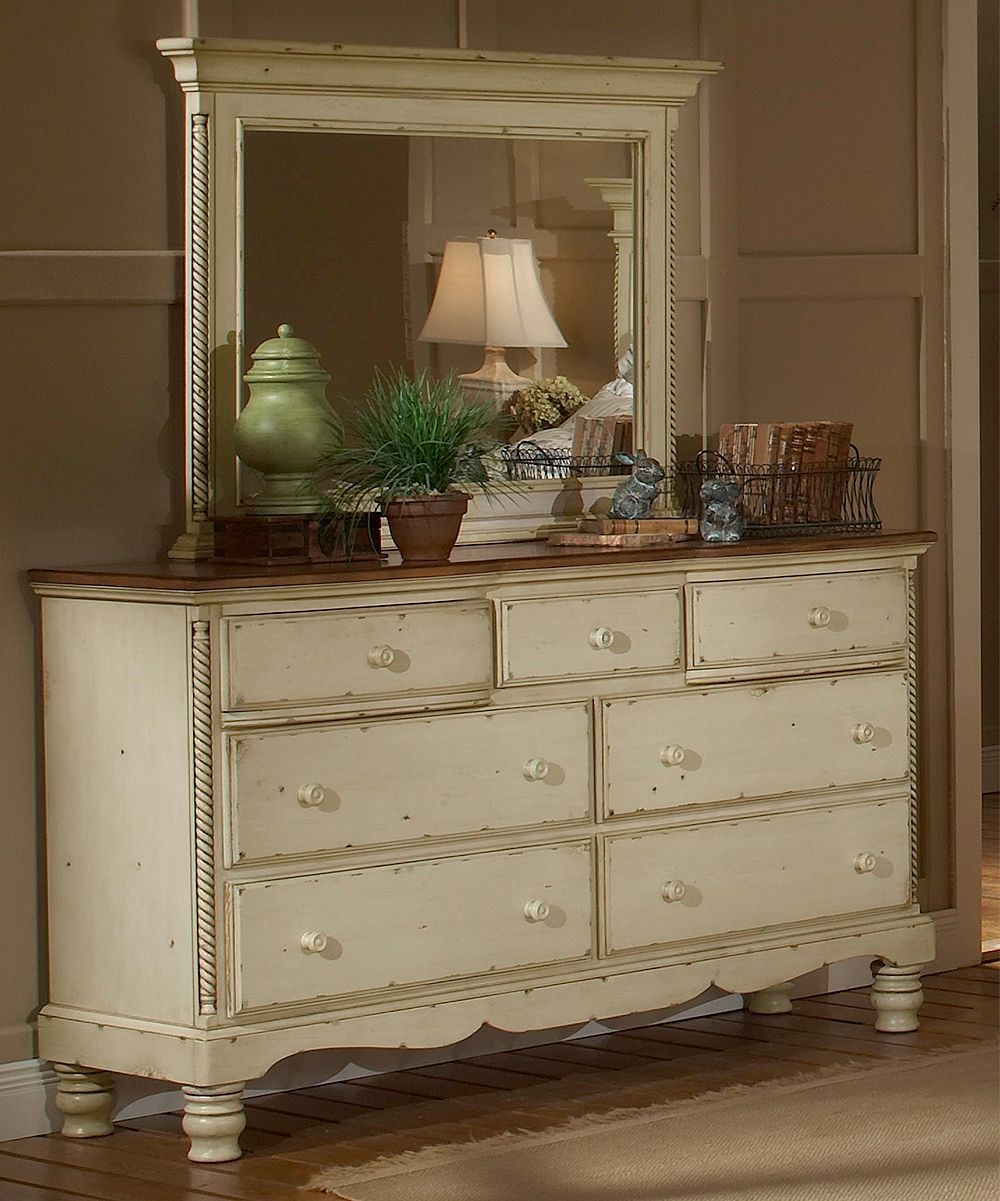 antique white wilshire dresser | distressed white bedroom