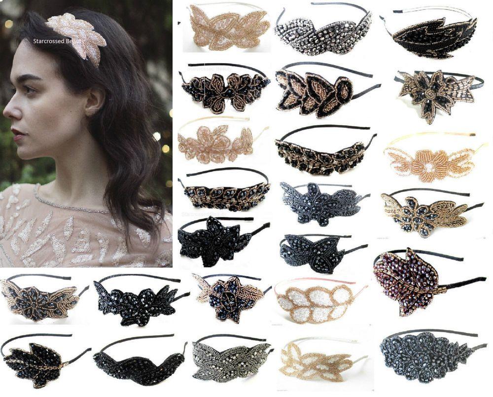 Vintage Beaded Head Piece Headband 1920s Bridal Flapper Great Gatsby Prom I06 Great Gatsby Prom Gatsby Prom Diy Hair Pieces