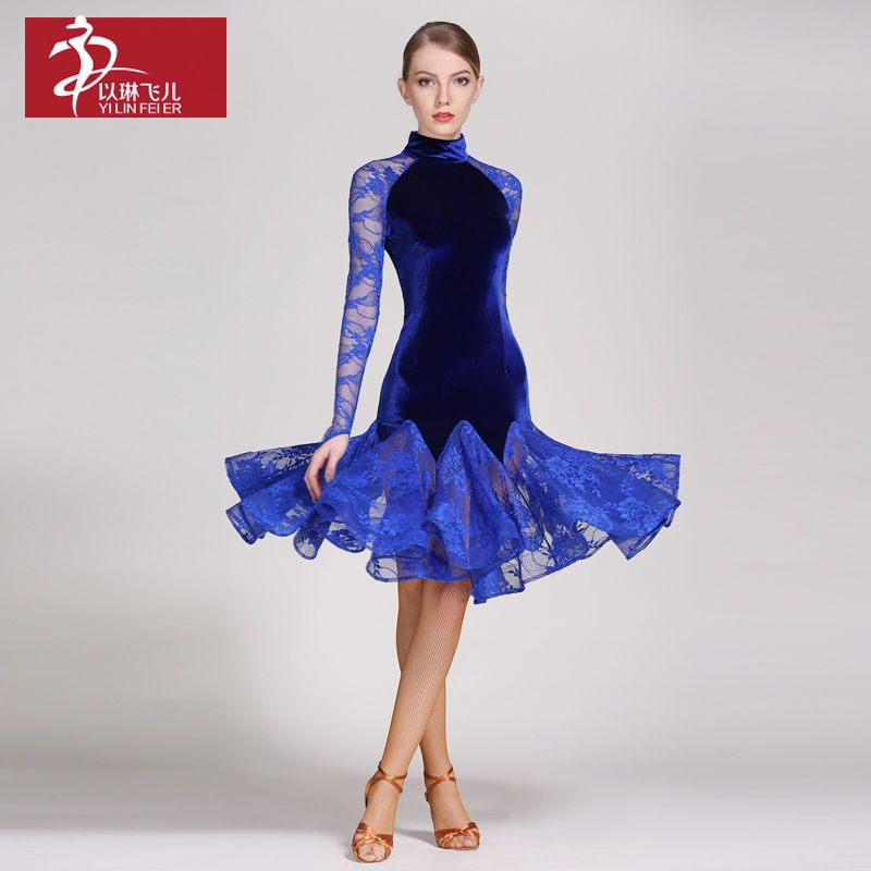 Women Latin Dancewear Costume Dress Fringe Salsa Tango Rumba Practice Dress
