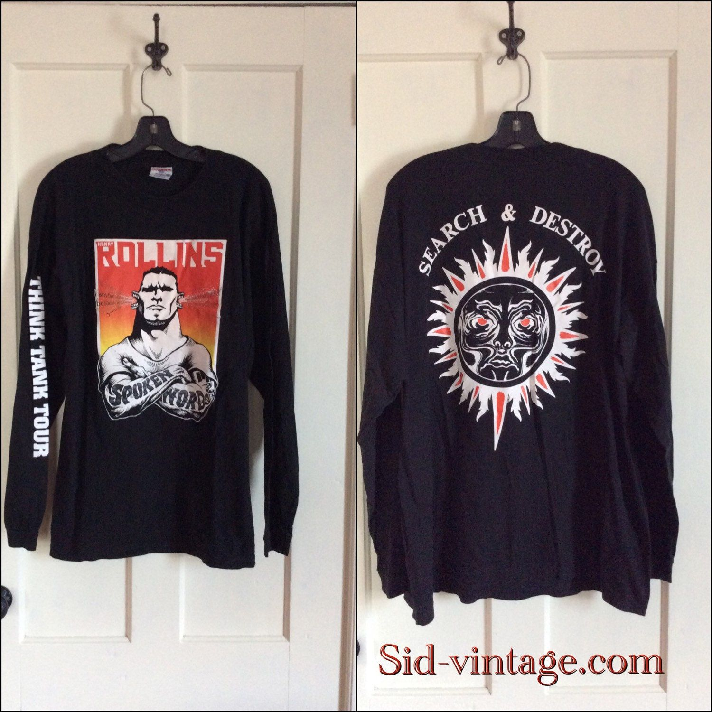 Black flag t shirt vintage - Vintage 1990 S Henry Rollins Think Tank Tour Long Sleeve T Shirt Size Xl Search Destroy Spoken Word Black Flag Rollins Band Punk Rock