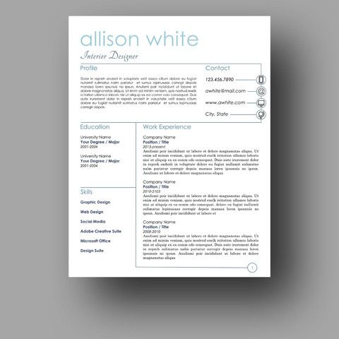 The Allison  Creative Resume Templates    Creative