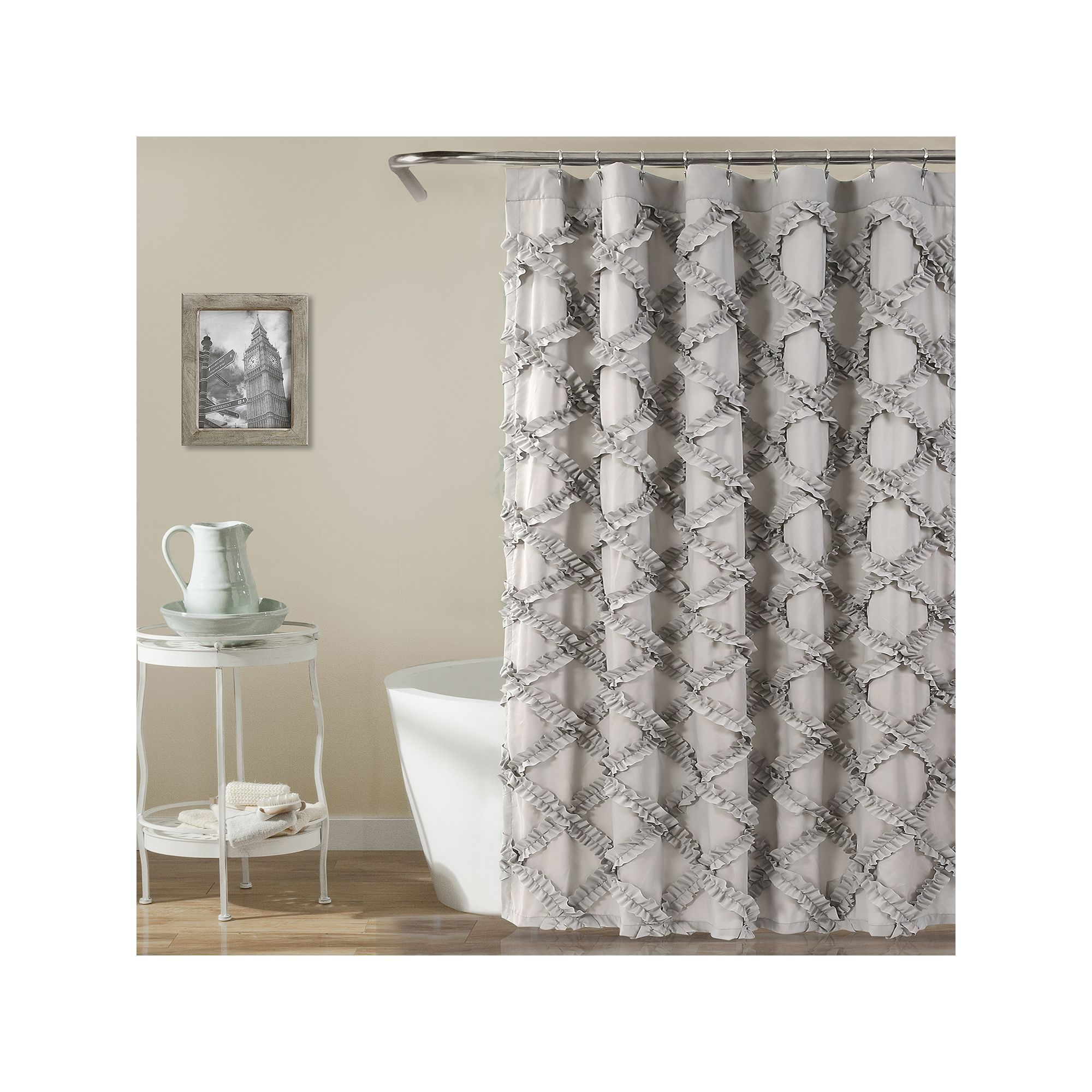 Lush Decor Ruffle Diamond Shower Curtain Grey