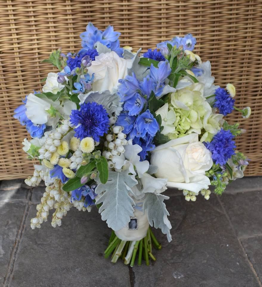 Divine Wedding Flowers: Divine Vintage Look Bouquet In Blues And Ivory. Featuring