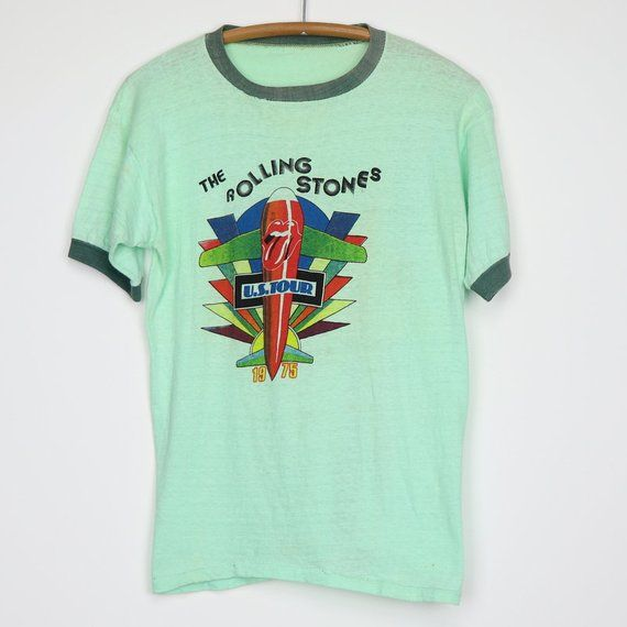 The Rolling Stones Mens T-Shirt Retro Us Tour 1975