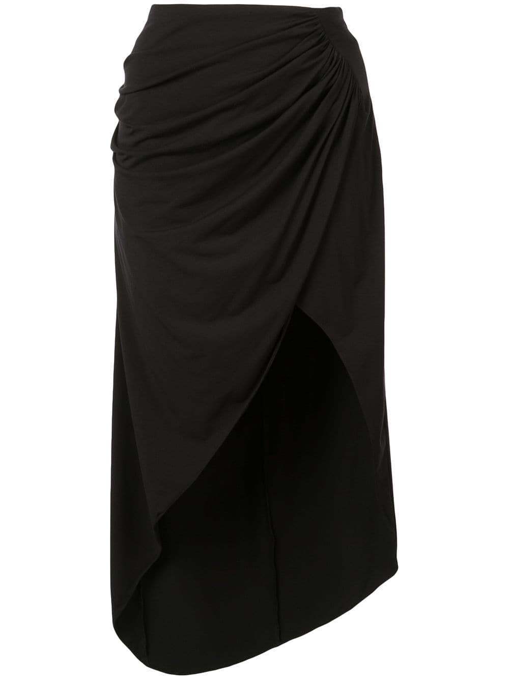 Fleur Du Mal Draped Midi Skirt Farfetch Black Midi Skirt Midi Skirt Skirts