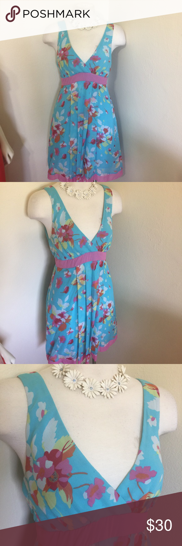 BCBG MAX AZRIA Light Blue Pink Silk Party Dress XS | Max azria ...
