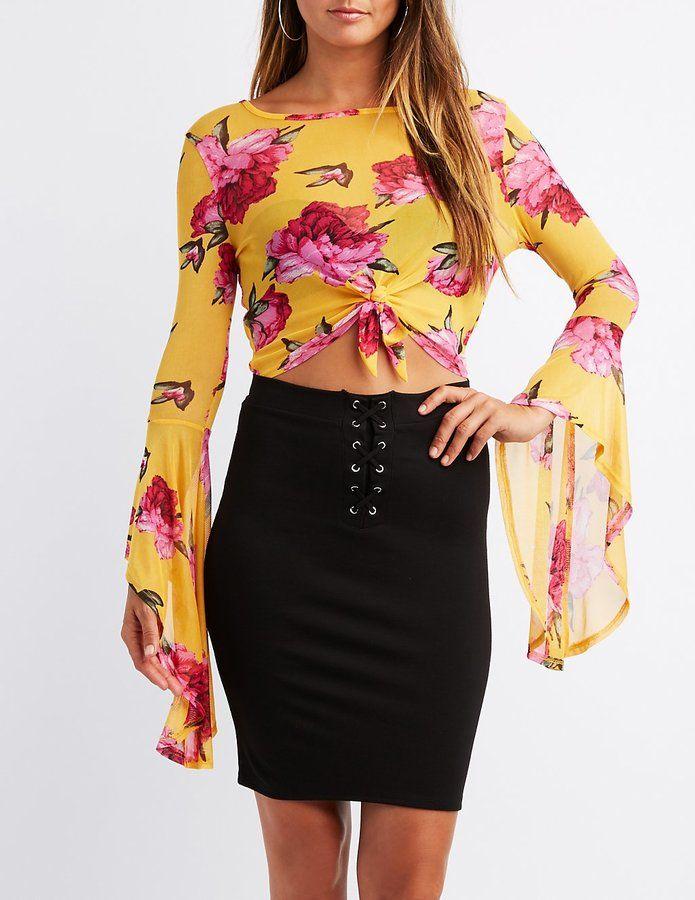 49f893030d6 Charlotte Russe Floral Mesh Flutter Sleeve Crop Top