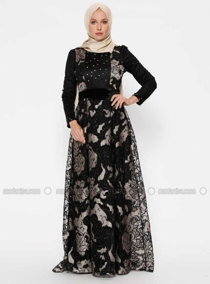 0186c354345d Black - Fully Lined - Crew neck - Muslim Evening Dress - SomFashion ...