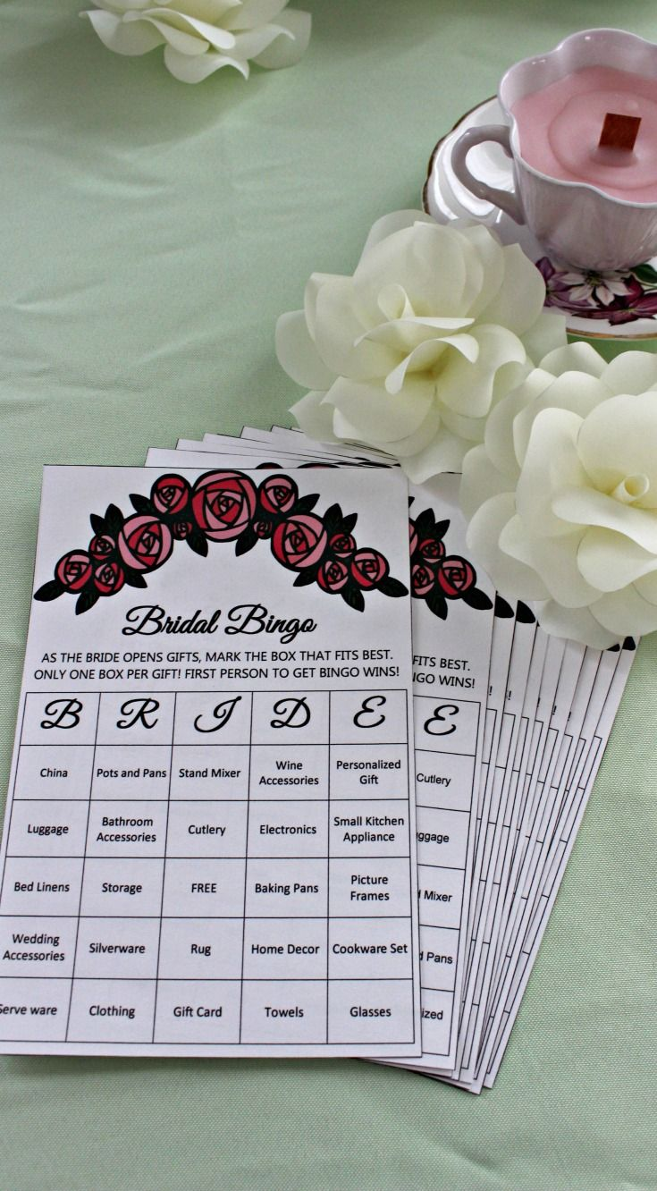 "2108ce040c7d FREE PRINTABLES  One of my favorite Bridal Shower Games is the ever popular  ""Bridal Shower Bingo."" Guests are given cards of potential gifts that the  ..."