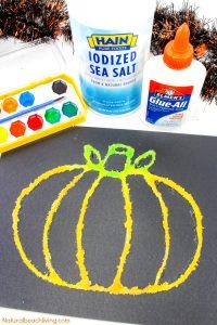 How to Make Halloween Pumpkin Salt Painting with Kids #pumpkincraftspreschool Ho…