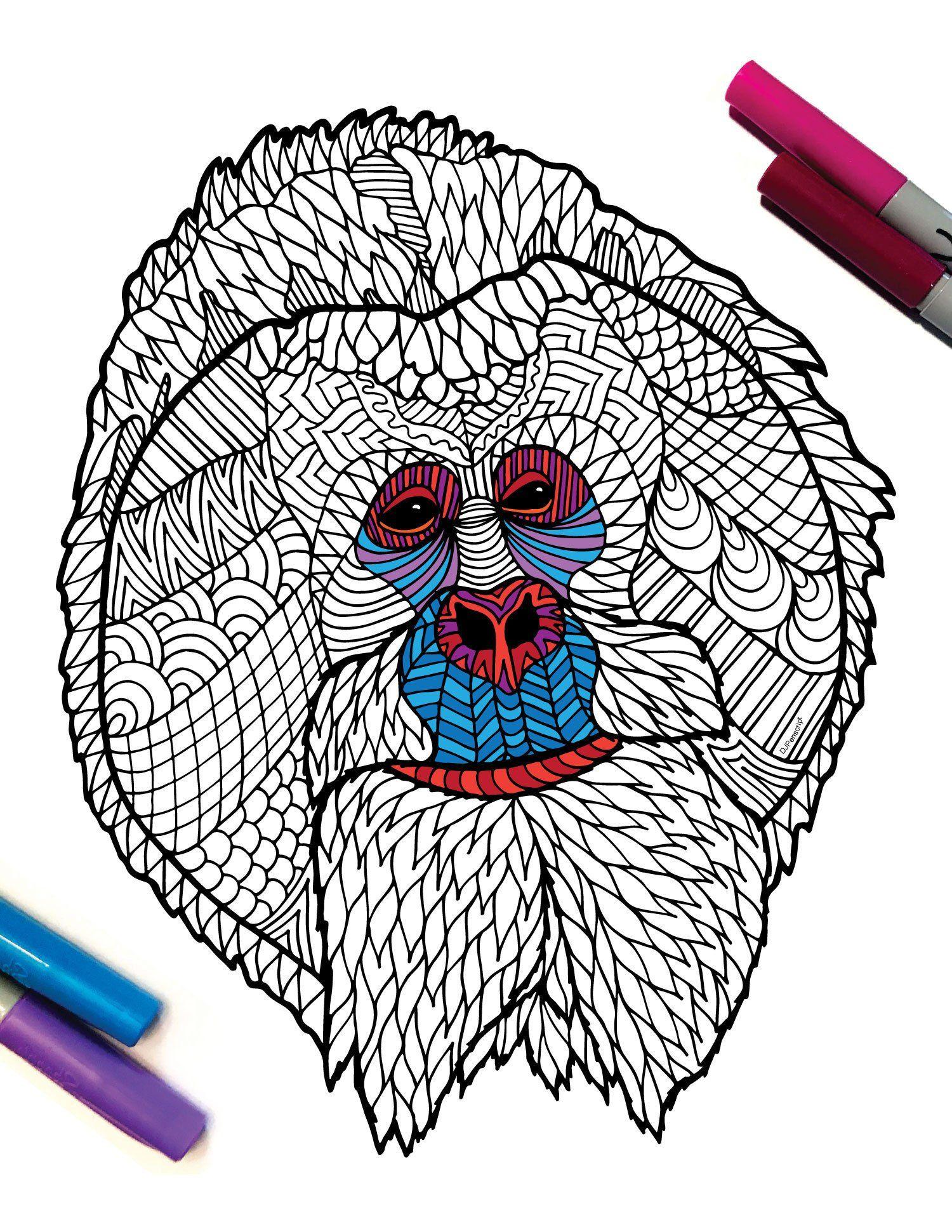 Bornean Orangutan Endangered Animal PDF Zentangle