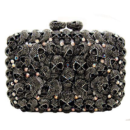 515d33cd4c Swarovski Crystal Multi Skull Side Clutch Bag Pewter