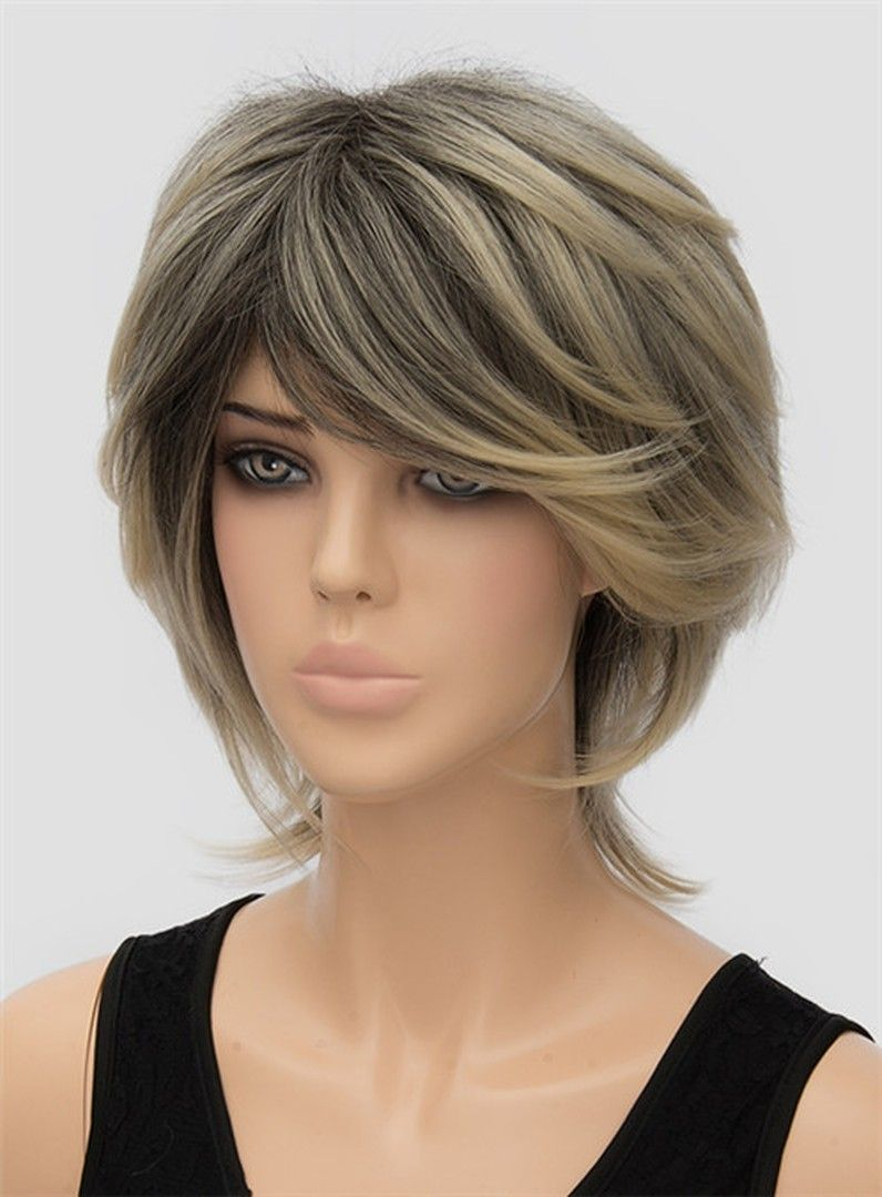 Fluffy Medium Straight Capless Synthetic Hair Wig 12 ...