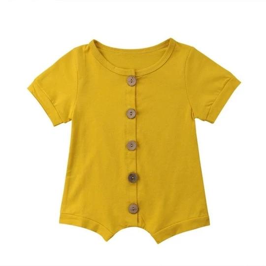 Solid Button Summer Newborn Jumpsuit Baby Romper Set