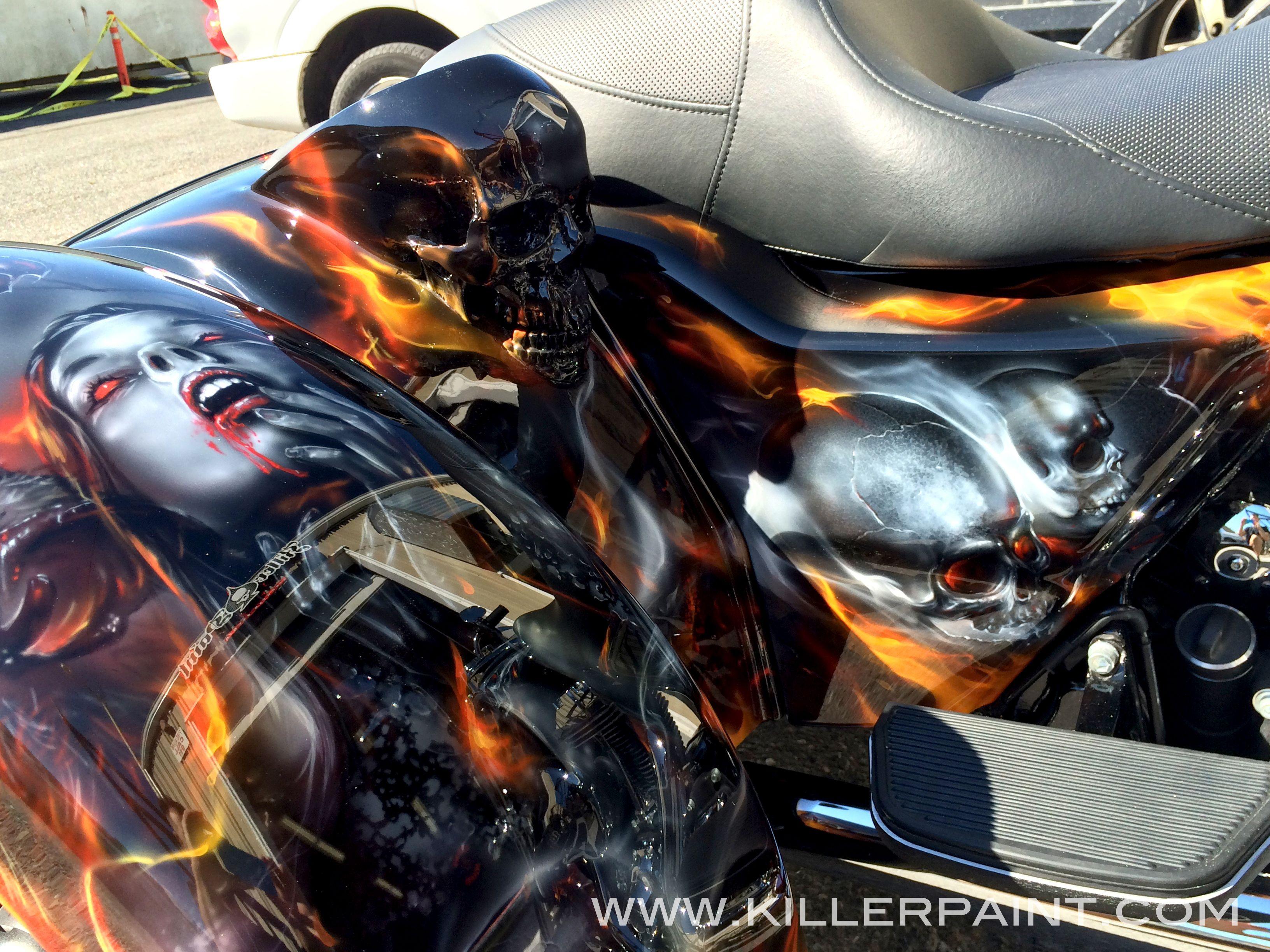 Freewheelin Vampires Bikes Airbrush Art Motorcycle