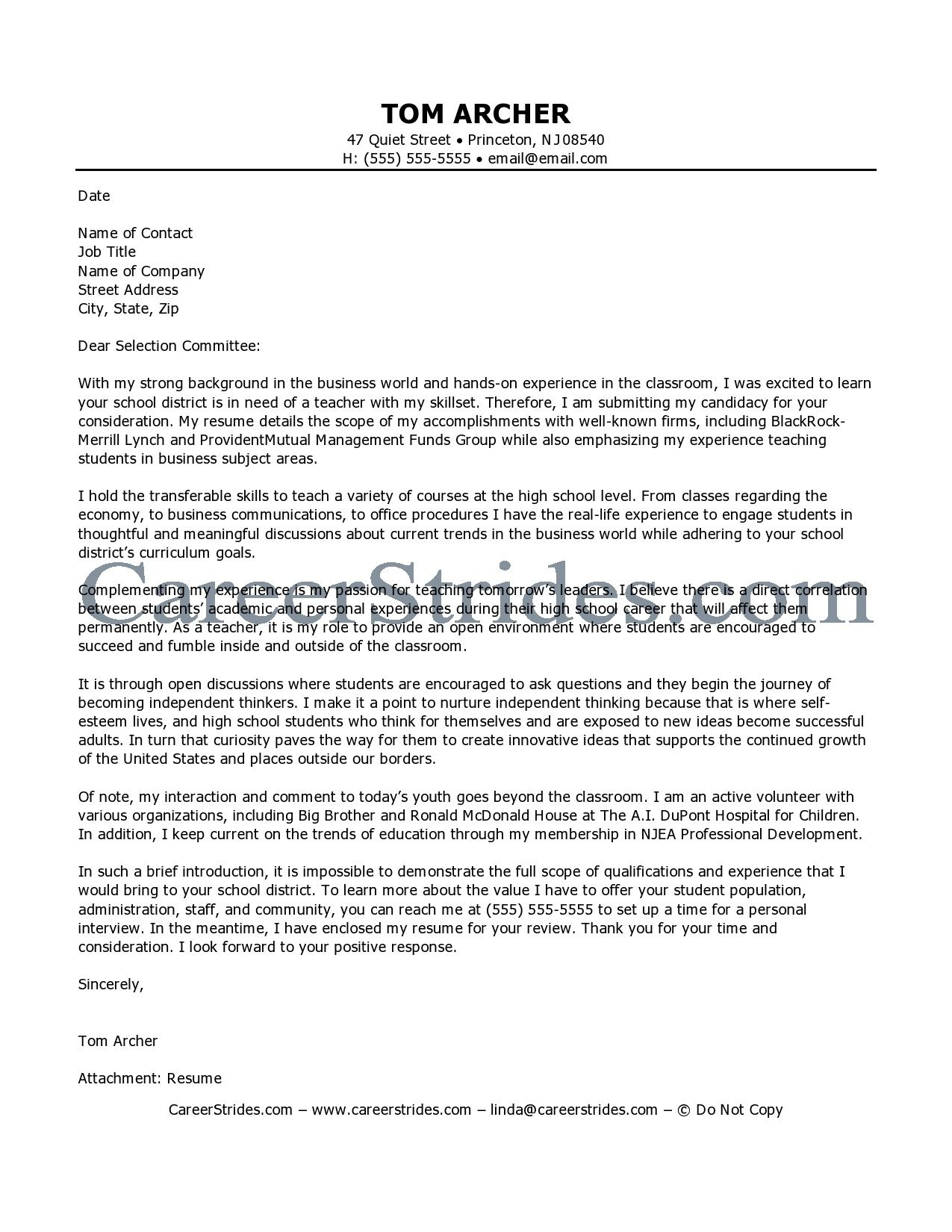 Marvelous Teaching Cover Letters // Careerstrides.comBusiness Teacher. Nursing ...