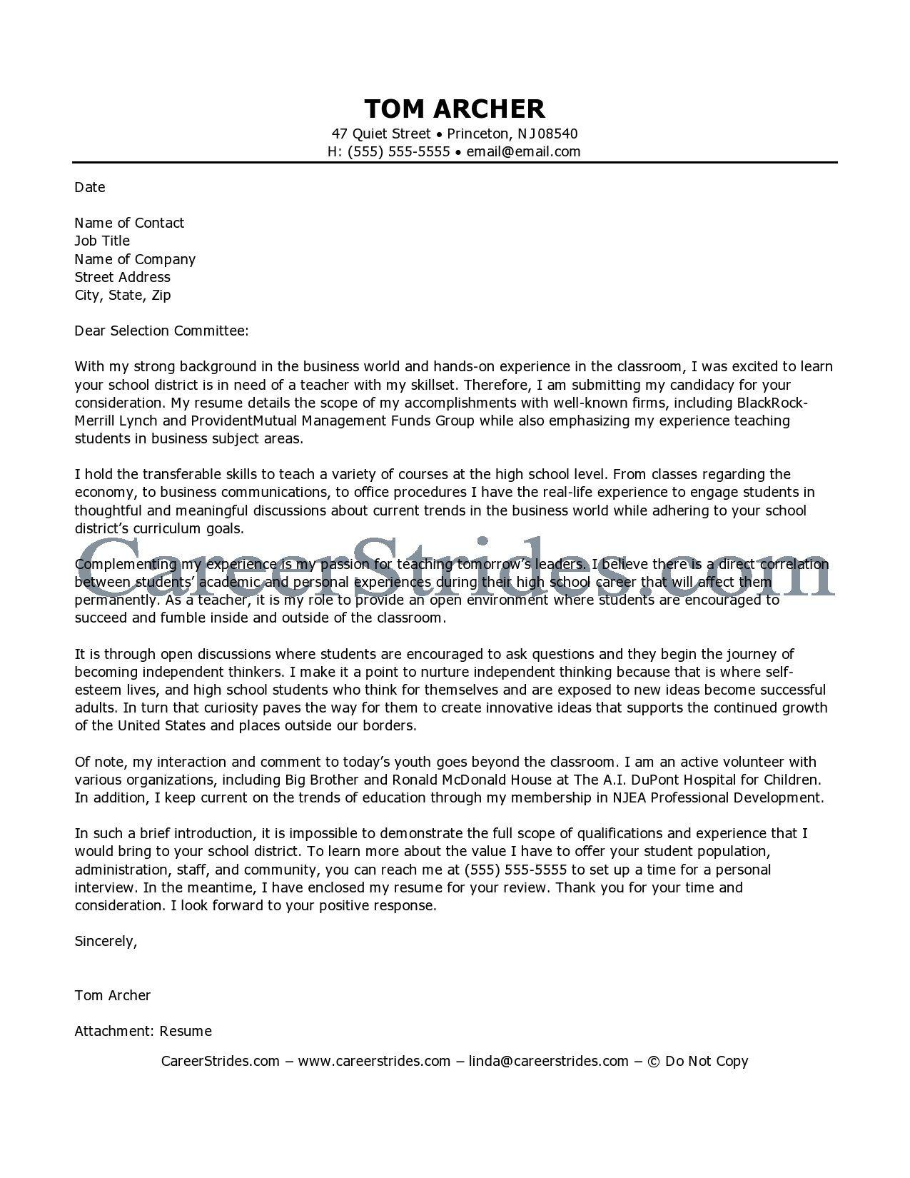 teacher cover letter samples education for resume example platinum class limousine - Business Teacher Cover Letter