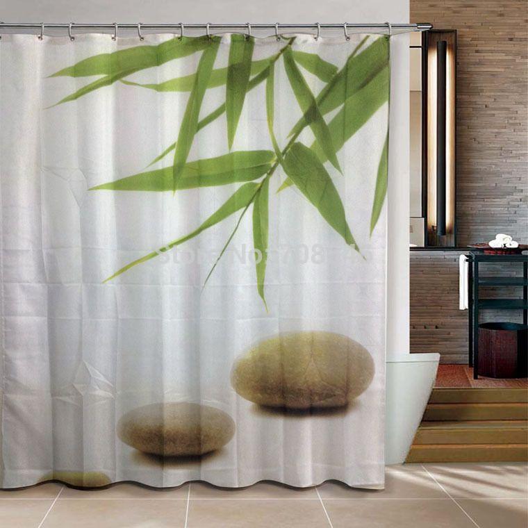 Cheap Bambu Y Piedra Zen Productos De Bano Ducha Cortina 180 X 180