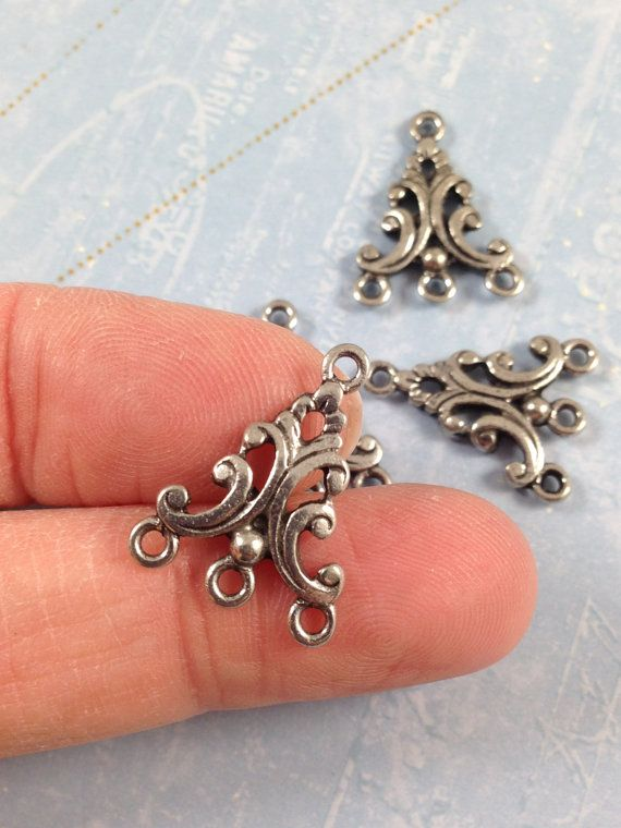 Antique Silver Triangle Connector, Teardrop Pendant, Teardrop Pendant with 3 loops, Made in the USA 15X15mm, Qty 2, (2F4)