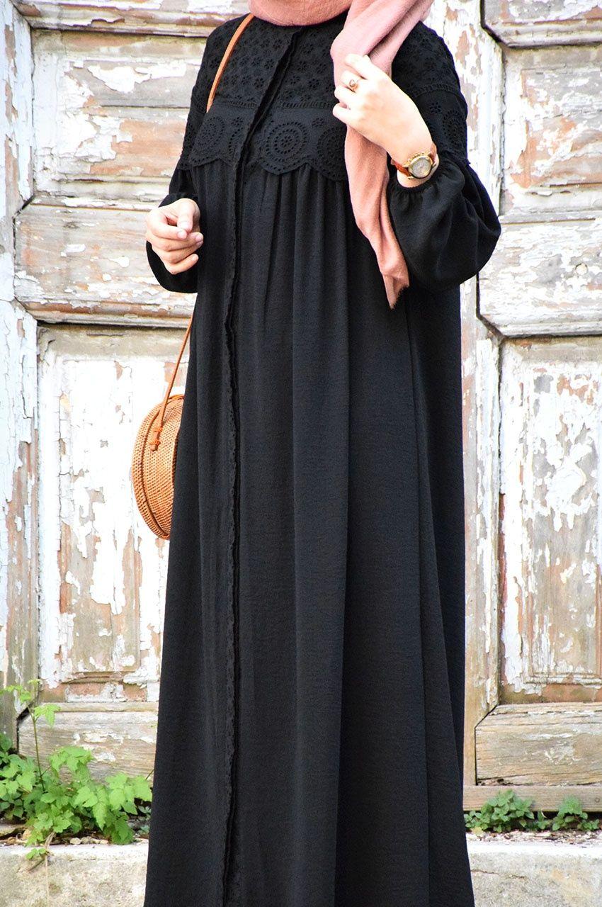 Fistolu Siyah Ferace Eminos Butik Islami Giyim Abaya Tarzi Giyim