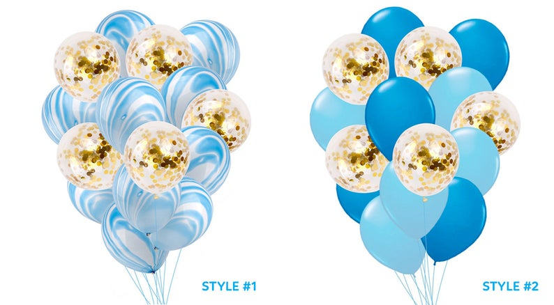 Blue Gold Balloons Baby Blue Marble Confetti Balloons Bouquet Etsy Balloon Bouquet Confetti Balloons Baby Shower Balloons
