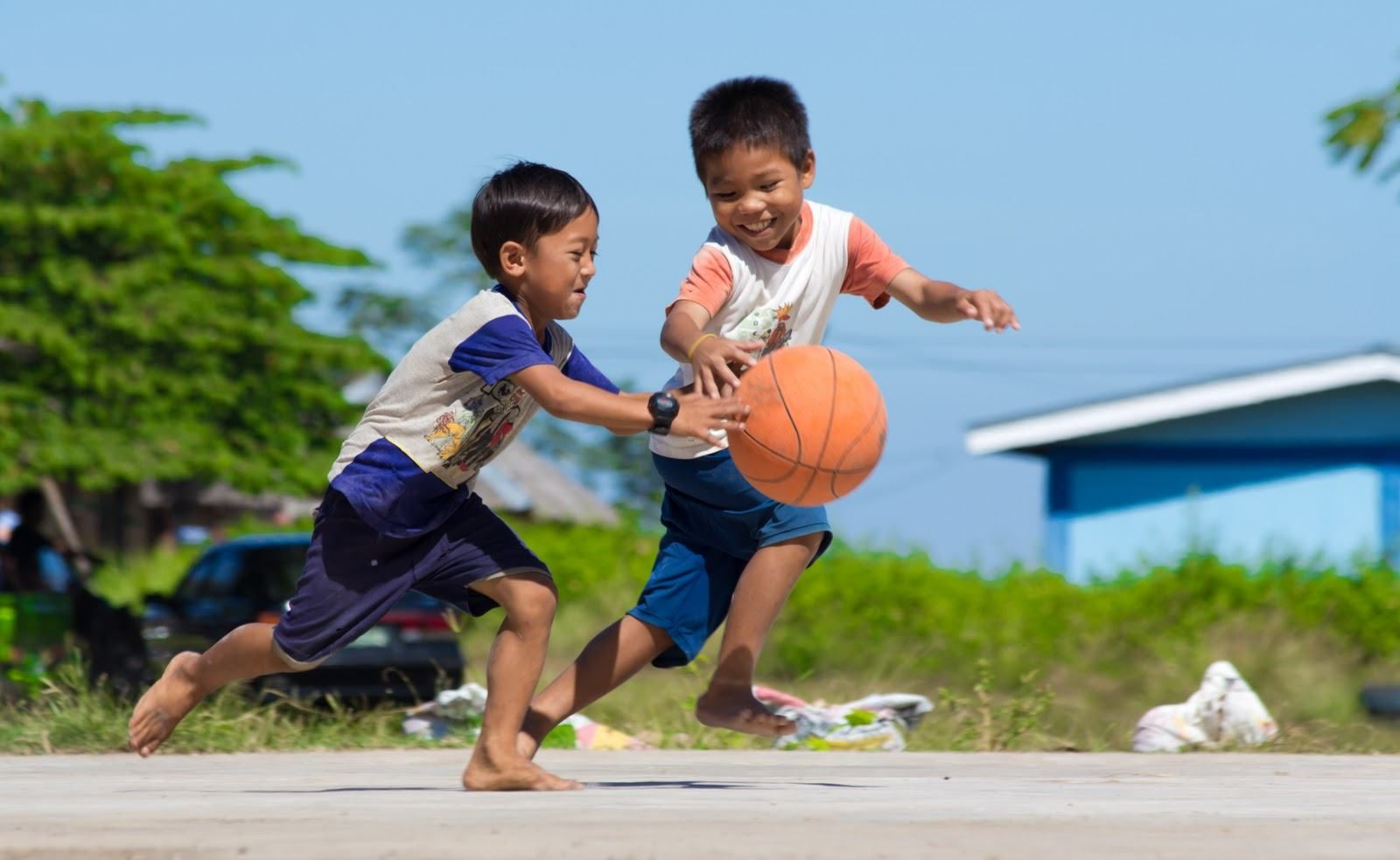 happy kids playing basketball little happiness of