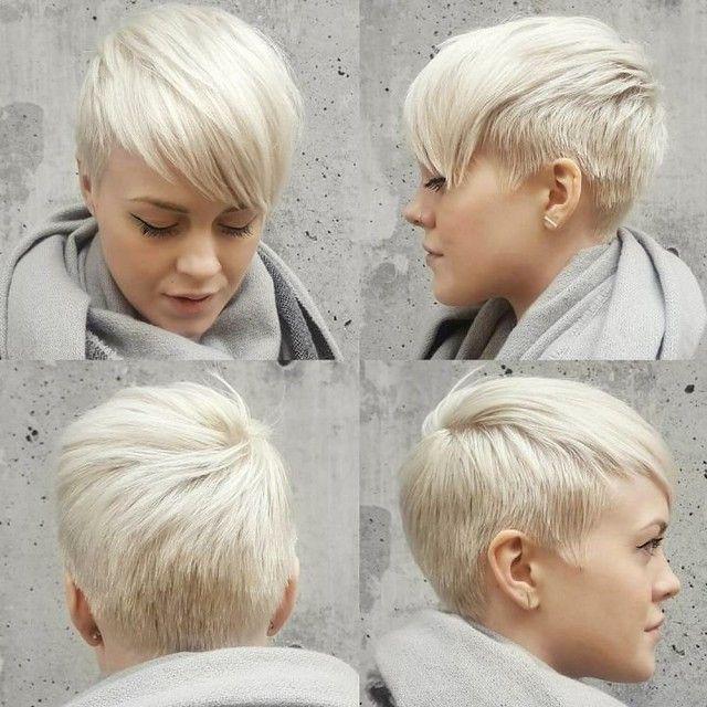 beyaz renk klasik pixie tarzında kısa saç modeli
