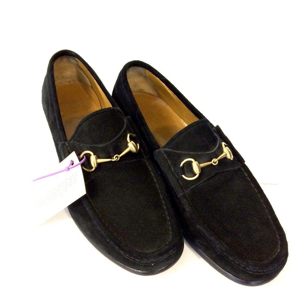 8f4cc84d070 Gucci Men s Black Suede Horse Bit Loafer Shoes