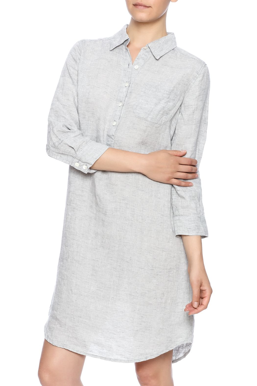 0f6189773ea Classic shirt dress in washed linen with 3 4 sleeves
