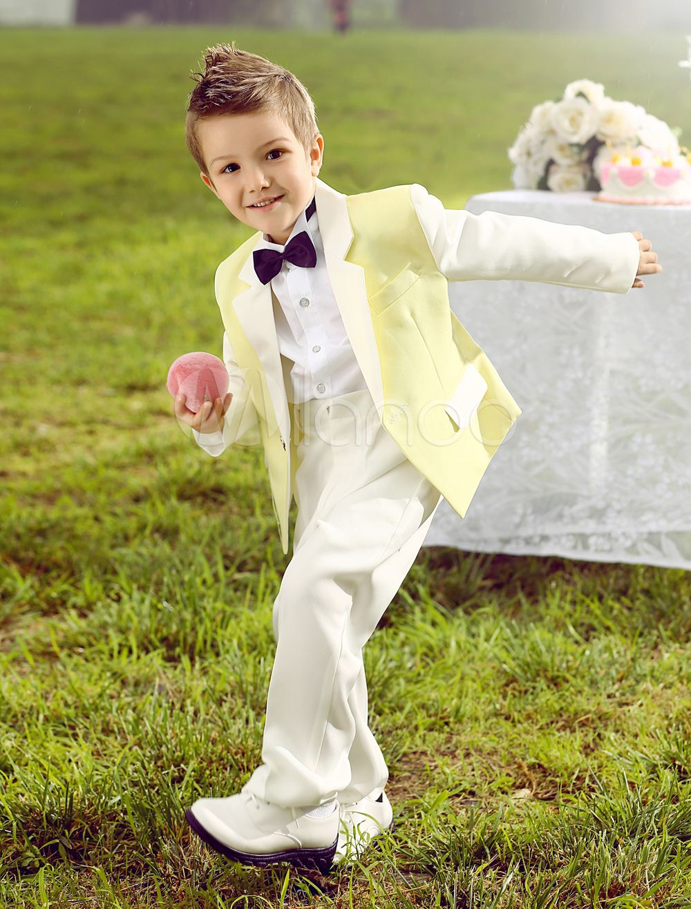 ad933f07e113 Baby Boy Suit Set Kids Wedding Tuxedo Yellow Jacket Pants Shirts Bow Tie 4  Pcs Ring Bearer Suits